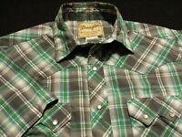 Wrangler Mens Medium Short Sleeve Pearl Snap Multicolor Plaid Western Shirt