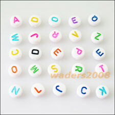 100 New Charms White Acrylic Plastic Mixed Letters Spacer Beads 7mm