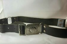 More details for 1960's girl guides leather belt whit metal buckle 26 inch waist with clips