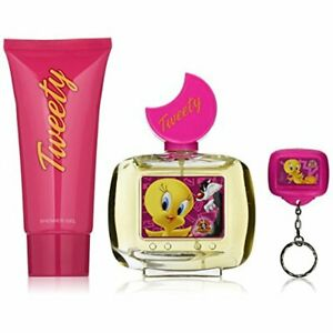 CS LOONEY TUNES TWEETY FIRST AMERICAN BRANDS SET IN PINK TIN LUNCH BOX