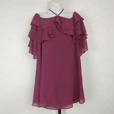 Rebecca Minkoff XXS purple ruffle Dena off shoulder mini dress