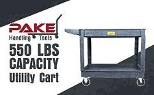 Pake Handling Tools Plastic 2 Shelves Utility Cart 550lbs Capacity 45 X 25