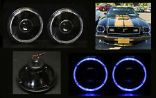 "H6012 H6015 H6024 7"" Blue Halo Black Projector Headlights"