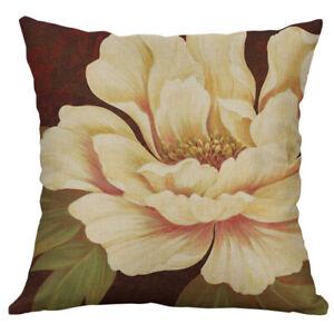 Retro Flower bird Print Pillow Case Cotton Linen Cushion Cover Home Decor
