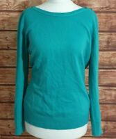 Ladies Jumper Jade Green Size UK-12 Button Shoulder Fine Knit Long sleeve Womens
