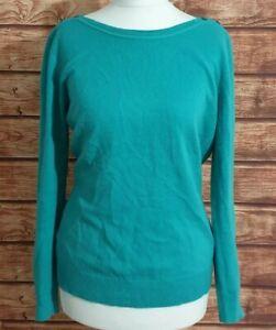 Ladies Jumper Jade Green Size UK-12 Button Shoulder Fine Knit Long sleeve Womens