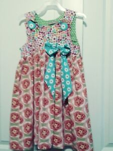 Jelly The Pug Size 10 Sleeveless Dress. Floral Pink Blue Green