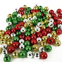 CHRISTMAS RED GREEN GOLD SILVER PEARLS 120 BEADS 6mm CRAFT PB6