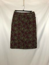 e3889e77db Eddie Bauer Womens Size 8 Petite Green Red Floral Print Cotton Corduroy  Skirt