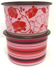 Tupperware Canisters Set of 2 Pink Stacking Stripes + Flowers New