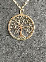 Halskette  585  Gelbgold  50 cm +  Anhänger Lebensbaum    Neu und  ungetragen !!