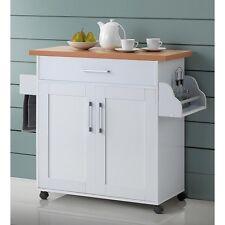 White One Drawer Kitchen Island Cart Cabinet Home Dining Storage Furniture