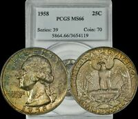 1958 Washington Silver Quarter PCGS MS66 Yellow/Green/Brown Toned Coin