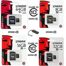Tarjeta MicroSD Kingston 4/8/16/32GB Clase 4-10 - Memoria Micro SD GB Class