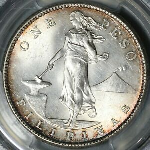 1908-S PCGS MS 62 Philippines Peso Mint State USA Silver USA Coin (21051601D)