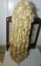 Fabulous Uber Long Blonde Mohair Curls Doll Wig for BJD Antique Artist Size 10