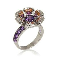 Millie 2.20Ct Multigemstone Sterling Silver Flower Ring Size 6 Hsn