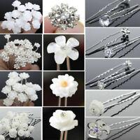 40Pcs Wedding Bridal Pearl Rose Flower Hair Pins Crystal Rhinestone Clips Lot~