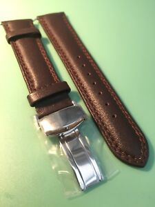 Brown, Stitched Smooth Padded Calf Leather Deployment Watch Strap-Choice Of Size