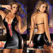 Women Faux Leather Lingerie Underwear Dress bodysuit Skirt  wy79G