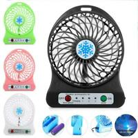 Portable Rechargeable 3 Mode LED Light Fan Air Cooler Mini Desk USB Fan