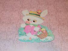 """Vtg Eureka Easter Bunny Hat Eggs Basket Die Cut Cardboard Decoration 7"""" Rare"""