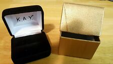 NEW Kay Jewelers Empty Black Velvet Ring Box with Gold Colored Presentation Box