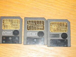 Bundle Of 3 Smart Media Memory Cards - 8MB, 8MB, 64MB,