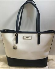 Authentic DKNY cream and black leather tote bag