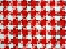 RED GINGHAM CHECK COUNTRY PICNIC WEST OILCLOTH VINYL SEW CRAFT DECOR FABRIC BTY
