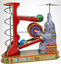 CIRCUS ELEPHANT TOY PLAYING WITH BALLS CLASSIC TIN TOY WIND-UP COLLECTIBLE