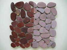 Flusskiesel geschnitten Matte, weinrot, auf Netz 1qm, Kiesel Mosaik Naturstein