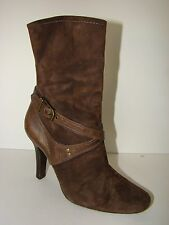 Women's Cole Haan High Heel Harness Boots Mid Calf Brown Leather Sz 6 B