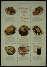 Old Original Magazine Advert Guinness Guide To Country Dishes 1953