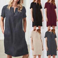 Womens Cotton Tunic Summer Casual V Neck Tops T Shirt Mini Dress Plus Size 8-26