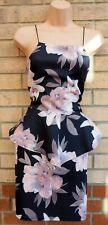 TILK BLACK GREY PALE PINK ROSE FLORAL WEEDING PARTY PEPLUM  BODYCON DRESS M L