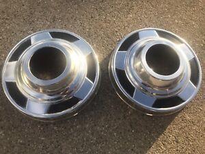 "Pair (2)1973 - 1987 1/2 ton Chevy pickup dog dish front 4X4 hub caps 10-3/4"" GMC"