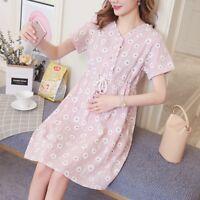 Maternity Dress Comfort Motherhood Floral Pregnant Dresses Clothing Short Sleeve