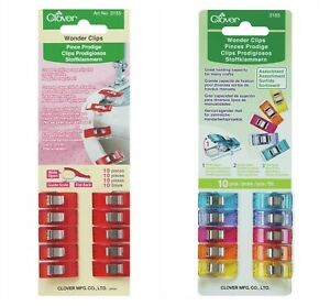 CLOVER Wonder Clips Sewing 10 Pieces Per Pack Choose Red Or Assortment Colours
