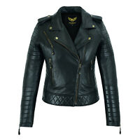 Women Leather Jacket, Real Leather Diamond Biker Style Short Slim Fit Jacket