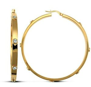 9ct Gold Large Hoop Earrings  CZ Setting 50.7mm -  UK Jewellers