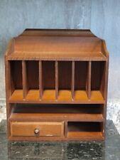 Vintage Wooden Desk Mail Organizer Sorter Wood Desk Caddy 12 38 Tall Cabinet