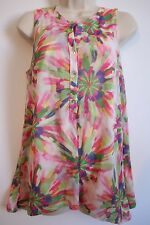 SWEET PEA for New York & Co Womens Pastel Floral Sleeveless Top LARGE