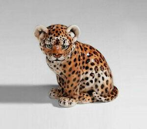 exklusive Dekofigur LEOPARD Baby 46cm Italien Design Keramik handmade