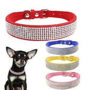 Bling Rhinestone Dog Collars Pet Crystal Puppy Kitten Collar Adjustable Padded
