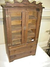 Antique Oak Child's Hutch top knot 2 doors with original ~ glass   024