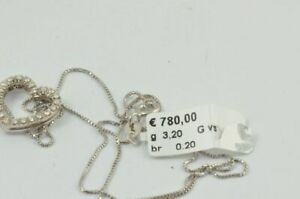 Gold Chain White Gold 18K 750 Gold with Heart Pendant New Unworn 0,20 CT