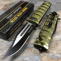 TAC FORCE Green Spring Open Sawback Bowie Tactical Folding Pocket Knife
