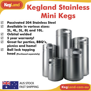 Stainless Steel Mini Keg KegLand Portable Home Brew Beer SS 2L 4L 5L 8L 10L