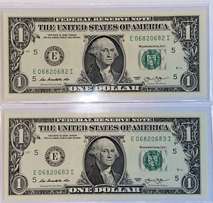 RARE PAIR 2013 Uncirculated Repeaters $1 Dollar Fancy Serial Number US Currency